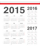 Set of Polish 2015, 2016, 2017 year vector calendars Royalty Free Stock Photos