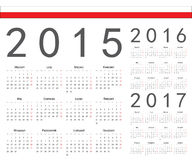 Set of Polish 2015, 2016, 2017 year vector calendars. Week starts from Monday royalty free illustration