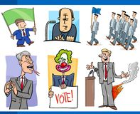 Set of politics and politician cartoon concepts Royalty Free Stock Images