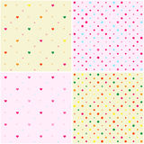 Set of Polka Dot Heart Seamless Patterns Royalty Free Stock Images