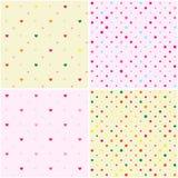 Set of Polka Dot Heart Seamless Patterns Royalty Free Stock Images