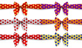 Set of polka dot ribbons with bow isolated on white background. Vector illustration Royalty Free Stock Images