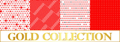 Set polka dots pattern on red and white background Stock Photos