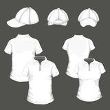 Set with Polo Shirt an Baseball Cap Templates Royalty Free Stock Photography