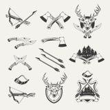 Set polowanie emblematy, odznaki Zdjęcie Stock