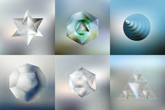 Set of Polygon patterns with the reflection Stock Images