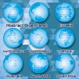 Set of polygonal abstract globes with mainlands Stock Image