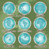 Set of polygonal abstract globes with mainlands. Set of polygonal abstract globes with different mainlands royalty free illustration