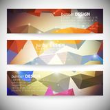 Set with polygonal abstract shapes, circles, lines Royalty Free Stock Photo