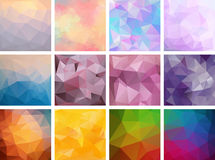 A set of polygonal backgrounds. 12 abstract backgrounds. Web banners Royalty Free Stock Photography