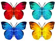 Set of polygonal butterfly stock illustration