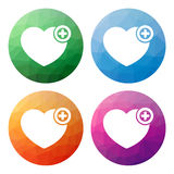 Set of 4 polygonal buttons for heart with plus sign - add to wis Royalty Free Stock Photos