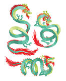 Set of Polygonal Chinese Dragons. Stock Photography