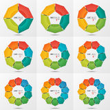 Set of polygonal circle chart templates with 4-12 parts. Set of polygonal circle chart infographic templates with 4-12 parts, options, steps for presentations Royalty Free Stock Images