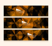 Set of polygonal dark geometric banners. Vector illustration Royalty Free Stock Images