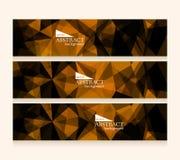Set of polygonal dark geometric banners Royalty Free Stock Images
