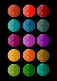 Set of polygonal designed spheres in different colors. Design element for print, web. Multicolored facet surface. Royalty Free Stock Photography