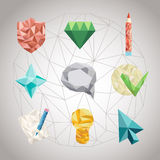 Set of polygonal geometrical figures Stock Photos