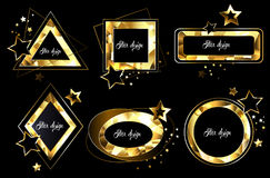 Set of polygonal golden banners Stock Images