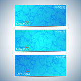 Set of polygonal horizontal backgrounds. Low poly, molecule and communication with connected dots , lines. Vector Illustration Royalty Free Stock Image