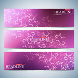 Set of polygonal horizontal backgrounds. Molecule and communication with connected dots, lines. Vector Illustration Stock Images