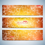 Set of polygonal horizontal backgrounds. Molecule and communication with connected dots, lines. Vector Illustration Stock Photos