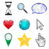 Set of polygonal icons Royalty Free Stock Image