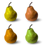 Set of polygonal multicolored pears, in vector. On white background Royalty Free Stock Images