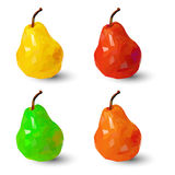 Set of polygonal multicolored pears, in vector,. On white background Stock Photo