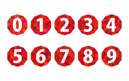 Set polygonal numbers 1234567890 ruby red Royalty Free Stock Photo