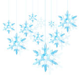 A set of polygonal pointed snowflake blue ice Stock Image