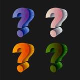 Set Polygonal question mark 3d volumetric on black.  Royalty Free Stock Photos