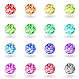Set polygonal spheres of different colors. Stock Photography
