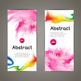 Set of polygonal and spots pink geometric banners for modern design Stock Photos