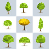Set polygonal trees with different crowns Stock Images