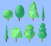 Set of polygonal trees Royalty Free Stock Photography