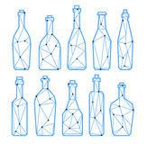 Set polygonal triangle alcohol bottles, champagne and wine. Set polygonal triangle alcohol bottles, champagne, bier and wine. Low poly or geometric style. eps10 Royalty Free Stock Image