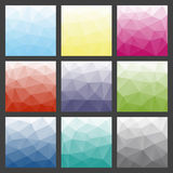 Set of polygonal triangle backgrounds. Colorful gradient template. Vector geometric design for text message, flyer, digital advertising or web wallpaper Royalty Free Stock Image