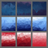 Set of polygonal triangle backgrounds. Colorful gradient template. Vector geometric design for text message, flyer, digital advertising or web wallpaper Stock Photos