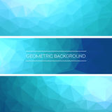 Set of polygonal triangular blue background banners design. Vector illustration Royalty Free Stock Photos