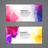 Set of polygonal triangular colorful background banners poster booklet for modern design, youth graphic concept.  Royalty Free Stock Images