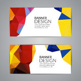 Set of polygonal triangular colorful background banners poster booklet for modern design, youth graphic concept.  Stock Photo