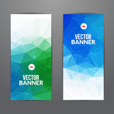 Set of polygonal triangular colorful background banners poster booklet with swirls for modern design, youth graphic. Concept Stock Images