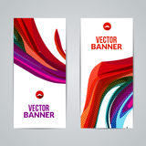 Set of polygonal triangular colorful background banners poster booklet with swirls for modern design, youth graphic. Concept Royalty Free Stock Image