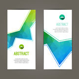 Set of polygonal triangular colorful geometric banners for innovate youth modern design.  Royalty Free Stock Images