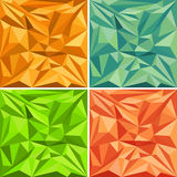 Set of polygonal vector pattern backgrounds. Set of triangles polygonal vector pattern backgrounds in various colors Royalty Free Stock Photography