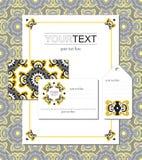 Set polygraphy szablony w orientalnym stylu Zdjęcia Royalty Free