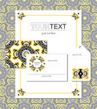 Set of polygraphy templates in oriental style. Oriental style polygraphy templates - blank, firm pattern, visit card and label Royalty Free Stock Photos
