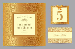 Set polygraphy to celebrate the wedding. Invitation card, table number, guest card. Vintage set with gold ornament in baroque style. Vector illustration Stock Photo