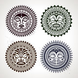 Set of polynesian tattoo styled masks Stock Photography